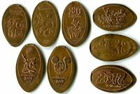 2013-2017 Retired Walt Disney World Collection Of Eight Souvenir Pressed Pennies