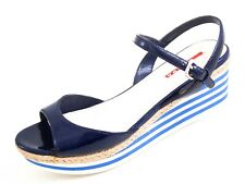 Prada Plateau Wedge Sandals Blue Patent Leather Women Size US 9 EU 39 $580