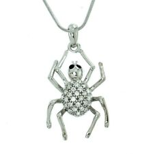 "Spider Necklace Made With Swarovski Crystal Charm Gift 18"" Chain Pendant"