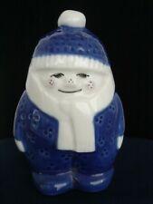 Porsgrund Blue Snow Boy Figurine Porcelain Boy in Snow Suit & Scarf Norway