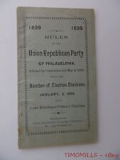 1899 Union Republican Party of Philadelphia Wards Rule Book Pennsylvania Antique