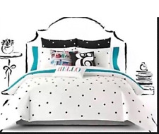 Kate Spade New York  3-PC Full/Queen White Comforter Set with Black Deco Dot