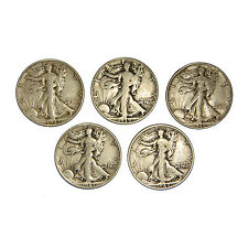 Estate Lot of (5) 90% Silver Walking Liberty Half Dollars Walkers