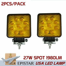 2pcs 27W Led Round Work Light Bar Spot Boat Tractor Offroad SUV Yellow 5D Lens