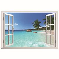 3D Window Ocean Beach Wall Sticker Decals Mural Art Removable Living Room Decor