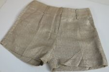 Milly Women's Shorts Size 0 Original USA Pleat Front Gold With Silver Weave Cute