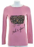 LIU JO Womens Graphic Top Long Sleeve Size 10 Small Pink  KV09