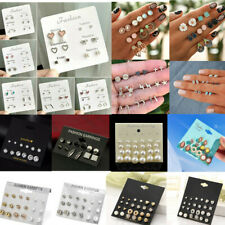 Wholesale 3/6/9/12 Pairs Crystal Earrings Sets Women Girl Ear Stud Jewelry Gift