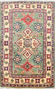Geometric GREEN Super Kazak Handmade Oriental Area Rug Classic Wool Carpet 2x3
