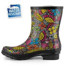 SheSole Women's Waterproof Wellington Boots Slip On Low Heel Rain Shoes Wellies