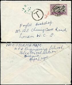 POSTAGE DUE GB from NIGERIA 1950 FRANKED 3d + 2d TO PAY