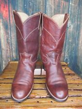 Ladies Justin Brown Leather Western Cowboy Roper Boots sz: 7 C *wide