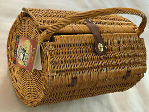 PICNIC TIME LINED WICKER BARREL PICNIC BASKET ~ NEW - WITH ALL ACCESSORIES