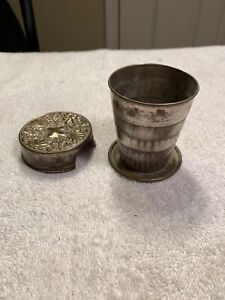 Vintage Metal Collapsible Travel Drink Cup Ornate Repousse Lid Patd Feb 1897 #4A