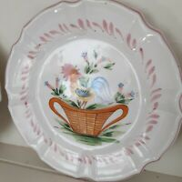 """Horchow Italy 3 pink rooster luncheon plates 8.5"""" Country French ceramic"""