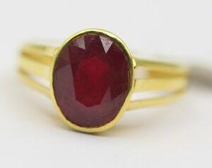 Natural Ruby Gemstone Men's Ring 3.310 Grams GGL Certified 18k Fine Gold Jewelry