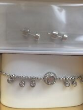 Ladies Michael Kors Silver Plated Earrings & Bracelet Boxed Gift Set MKJ6896040