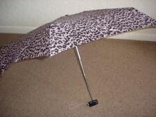 Totes Miniflat Thin Pink/Chocolate Leopard Print Umbrella (5 Section)