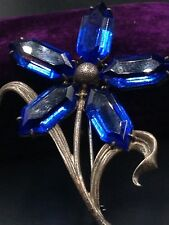 Antiguo Art Deco Azul Intenso 5Point Estrella Flor Firmado OTIS Plata de Ley