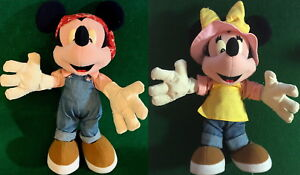 Disneyland TOKYO JAPAN 1990s MICKEY & MINNIE MOUSE in OVERALLS Plush Dolls Pose