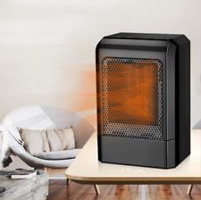 US 500W Mini Black Ceramic Electric Heater Home Office Heating Fan Small&Quiet