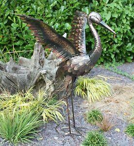 Small Metal Crane - WINGS UP Statue Ornament   Garden Sculpture   Outdoor Bird