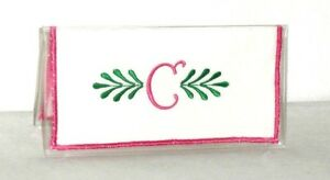Curly Q Pink Initial C on White Cotton&Vinyl Checkbook Cover C-9 Handmade