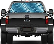 Brushed Dark Aqua Diamont Plate Rear Window Graphic Decal for Truck SUV Vans