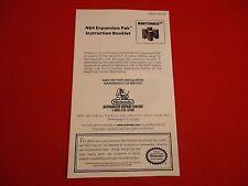Expansion Pak Pack Nintendo 64 N64 Instruction Manual Booklet ONLY
