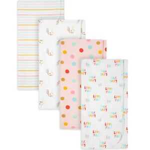 """GERBER Baby Girl's FLANNEL BLANKETS 4-Pack Cotton 30x30"""" ~ New with Tags"""