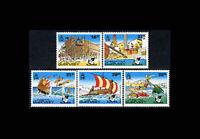 Guernsey, Sc #498-502, MNH, 1992, Operation Asterix, Ships, Boats, AR5SFI-B