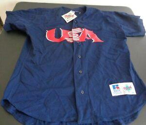 USA BASEBALL National Team RUSSELL ATHLETIC Diamond Sewn NEW Jersey Size 48 Blue