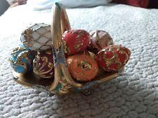"""Franklin Mint Fabergé Autumn mini 5"""" Egg Basket w/9 Eggs Porcelain Preowned."""
