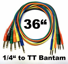 "6 Pack TT Bantam to 1/4 TRS Gold Patch Cables 36"" Stereo Cords - 3 Foot Leads"