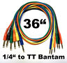 """6 Pack TT Bantam to 1/4 TRS Gold Patch Cables 36"""" Stereo Cords - 3 Foot Leads"""