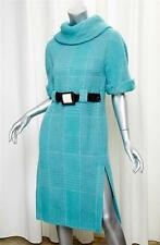CHANEL 07A Turquoise Blue Wool Tweed Foldover Collar Belted Shift Dress 40/8