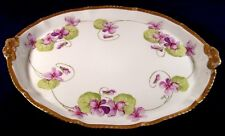 Antique Victorian FLAMBEAU Limoges VIOLETS Dresser Tray Hand Painted