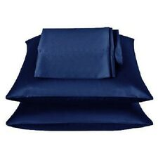 2 Pieces of 350TC Solid Navy Blue Soft Silk~y Satin Pillow Case King Size