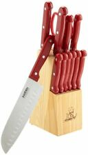 Kitchen Knife Set Chef Block Safe Ceramic Cutlery Steak Knives 13pc Red Cuts NEW