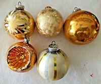 5 Vintage West German Gold & Silver Mercury Glass Ornaments, 1 Indent & 4 Balls