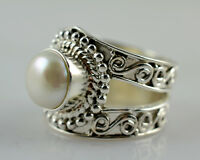 Freshwater Pearl Silver Ring 925 Solid Sterling Silver Jewelry Size 3-13 US