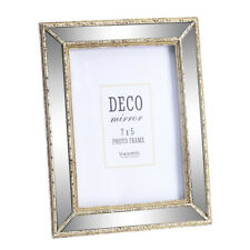 Vintage Art Deco Style Mirrored Photo Frame Rustic Freestanding Picture Holder