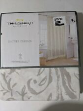 "Threshold Fabric Shower Curtain Gray Floral Fringed 72"" X 72"" NEW"