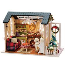 DIY Weihnachten Miniatur Puppenhaus Realistische Mini 3D Holzhaus Zimmer