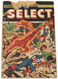 ALL SELECT COMICS #8 (CAP & BUCKY, HUMAN TORCH & TORO, SEE DESCR., TIMELY 1945)