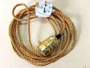 3M 3 Core Fabric Flex Cable Plug In Pendant Lamp Light Set E27 & Vintage Bulb