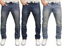 Smith & Jones Mens Designer Branded Straight Leg Regular Fit Jeans /w Free Belt