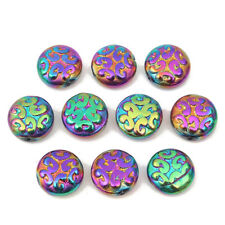 13mm Czech Pressed Glass Carved Disc Bracelet Beads Metallic Rainbow Craft DIY