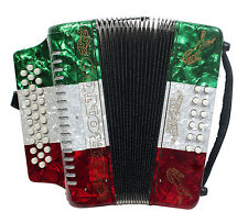 Rizatti Bronco RB31GM Diatonic Accordion - Mexican Flag - Key G/C/F