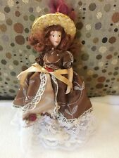 """Vintage Victorian Brown Haired Brown Eyed Doll on Stand 7.5"""""""